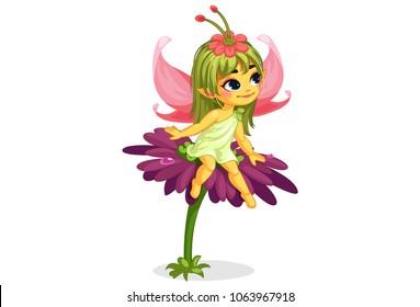 beautiful little flower fairy sitting on the flower