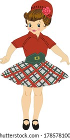Beautiful little girl in a Christmas costume, plaid skirt and green belt.Vector illustration on a white background