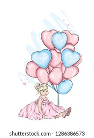 Beautiful little girl in a dress and with heart-shaped balloons. Charming baby. Valentine's Day, love, cupid. Vector illustration for postcard or poster, print for clothes.