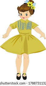 Beautiful little girl in a yellow dress.Vector illustration on a white background