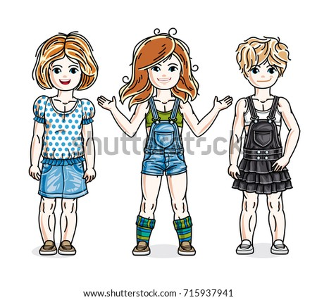 Beautiful little girls cute children standing in stylish casual clothes.  Vector set of beautiful kids e88bf8c8fa9c1