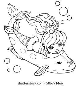 Beautiful little mermaid and  big fish. Hand drawn vector illustration on a white background. Coloring book.