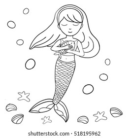 Beautiful Little Mermaid And Fish Underwater World Hand Drawn Vector Illustration On A White