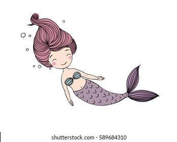 Beautiful little mermaid. Siren. Sea theme. vector illustration on a white background.