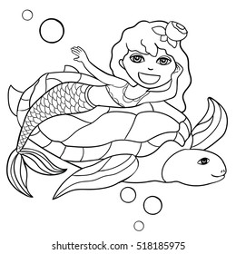 Beautiful little mermaid and  turtle. Underwater world.  Hand drawn vector illustration on a white background. Coloring book. Outline drawing coloring page. Sea. Fantasy.