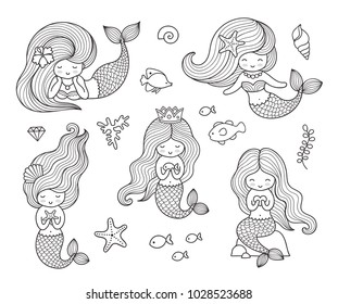 Beautiful little mermaids. Set of hand drawn vector illustrations for coloring book, isolated on a white background.
