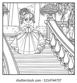 Beautiful little princess curtsies on large staircase in palace park with a outlined for coloring