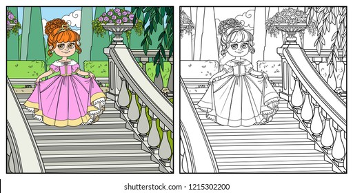 Beautiful little princess curtsies on large staircase in palace park  color and outlined for coloring