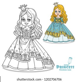 Beautiful little princess decorated pattern with birds color and outlined for coloring book isolated on white background