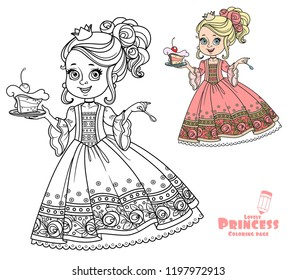 Beautiful little princess with delicious cake on a plate color and outlined for coloring book isolated on white background