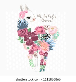Beautiful llama, alpaca silhouette with flowers, florals and tied bow. Vector, sketch, outline, cartoon illustration
