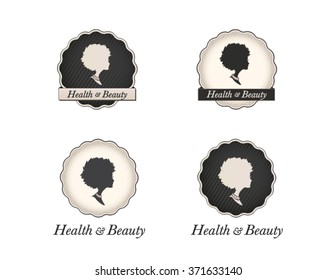 Beautiful logo collection of a lady cameo with an afro hairstyle in vintage circular frames and business name text. Vector health and beauty set.