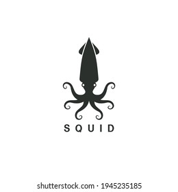 Beautiful logo icon squid , Stylized image of squid isolated logo template, squid tattoo  silhouette on white background Vector illustration