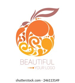 beautiful logo template: for beauty salon, spa, fruit festival and others, vector illustration
