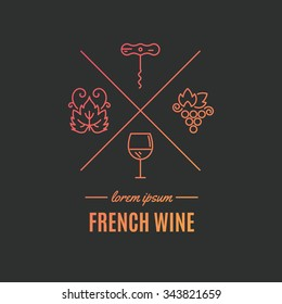 Beautiful logo for wine company with different winery elements made in vector