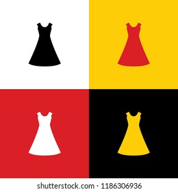 Beautiful long dress sign. Vector. Icons of german flag on corresponding colors as background.