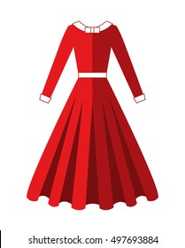 Beautiful Long Red Dress with cuffs, collar and waistband. Skirt with lush ruffles. Women's clothing. Evening attire.