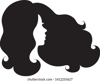 Beautiful long wavy woman hair style, face profile.