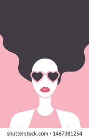 Beautiful long-haired girl with red lipstic and white skin wearing heart shaped sunglasses. Stylish young woman fashion poster. - Vector illustration