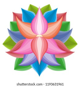 Beautiful lotus flower symbol, colorful vector icon, brand sign symbol for your business, lotos icon concept