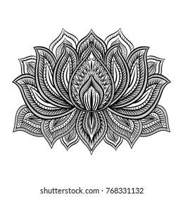 Beautiful  Lotus flower.Hand drawn doodle element. Ethnic design. Vector illustration.
