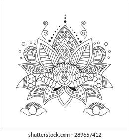 Beautiful lotus. Ornament Vector yoga. Hand drawn element. Picture for design, kaleidoscope, medallion, yoga, india, arabic. Lotus. Flower lotus. Lotus pats. Lotus classic. Lotus tattoo. Lotus tarot.