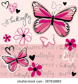Beautiful Lovely Passion Pink Butterfly Pattern Fabric Special Handwriting Script Floral Flower Heart Love Summer Happy Vector Illustration