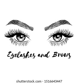 Beautiful lush eyelashes and brows. Beauty Logo. Vector illustration