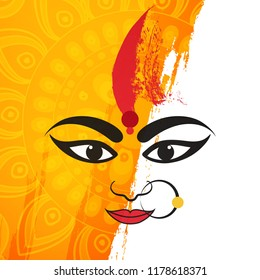 Beautiful Maa Durga Face Vector Illustration on Grungy Floral Background for Hindu Festival Shubh Navratri or Durga Puja.