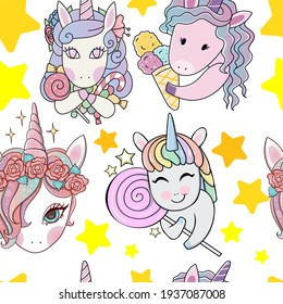 Beautiful magic candy unicorn pony stars seamless pattern. Suitable for textiles, packaging, wallpaper, etc. Objects isolated on background. Vector illustration.