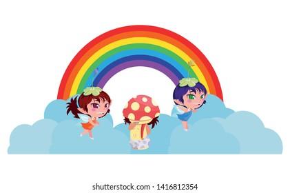 beautiful magic fairies with fungu elf and rainbow