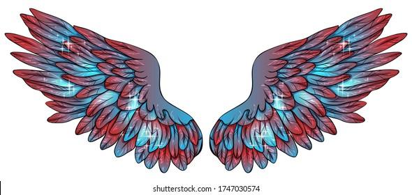 Beautiful magic glittery blue pink angel wings, vector
