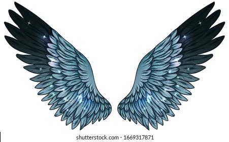 Beautiful magic glowing blue black gradient wings, vector