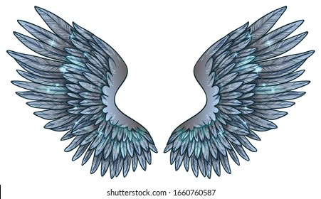 Beautiful magic glowing glittery blue wings, vector