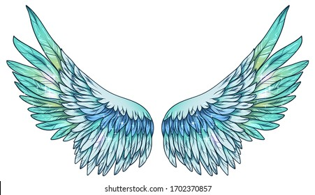 Beautiful magic glowing shiny blue green  angel wings, vector