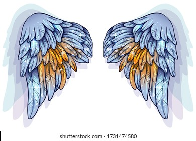 Beautiful magic glowing shiny blue yellow angel wings, vector