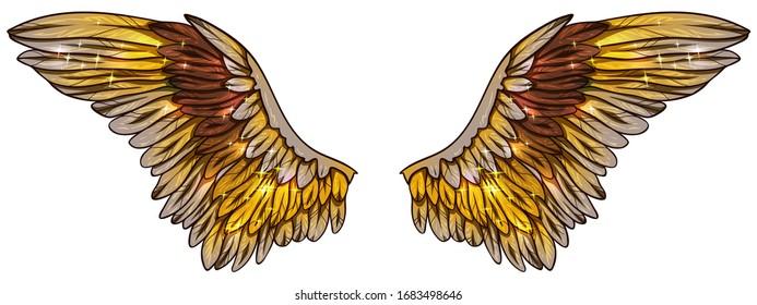 Beautiful magic golden shiny glowing glittery vector wings