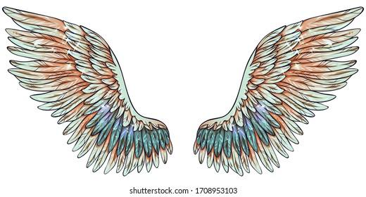 Beautiful magic gradient glowing light green orange vector wings