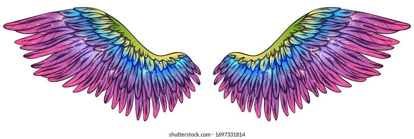 Beautiful magic gradient glowing rainbow pink blue violet yellow green wings, vector