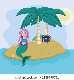 Beautiful and magic mermaid cartoon