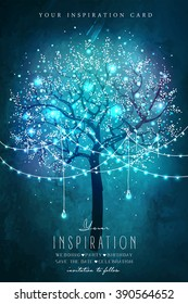 Beautiful magic tree with decorative lights for party. Inspiration card for wedding, date, birthday or garden party.. Garden party invitation