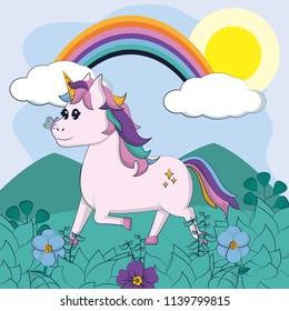 Beautiful and magic unicorn cartoon