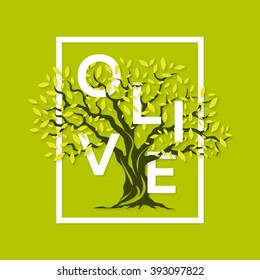 Beautiful magnificent olive tree on green background. Premium quality logo concept vector illustration. Elegant t-shirt design.