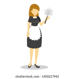 Beautiful maid in black uniform and white apron, cleaning service. Woman in the dress vector isolated. Classic costume of french maid.