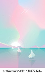 Beautiful majestic colorful summertime sky and sunset over the ocean with white yacht boats floating on the surface