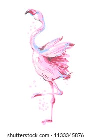 Beautiful male dancing pink flamingo smiling isolated on white background with pink splash for prints, fashion apparel, banners , bilboards