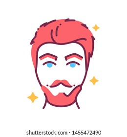 Beautiful man face with fashionable hairstyle and beard color line icon. Barbershop. Avatar red-haired guy. Pictogram for web page, mobile app, promo. UI/UX/GUI design element. Editable stroke.