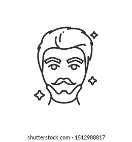 Beautiful man face with fashionable hairstyle and beard black line icon. Barbershop. Avatar red-haired guy. Pictogram for web page, mobile app, promo. UI/UX/GUI design element. Editable stroke.