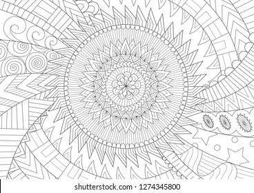 Beautiful mandala for background and coloring book, coloring page or colouring picture. Vector illustration