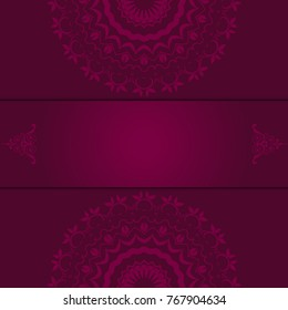 Beautiful mandala design on background. Greeting card. Decorative card. Template for your design. Vector illustration
